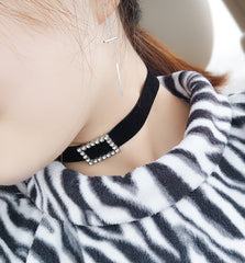 Korean Fashion - Shoes and Clothing - Rectangle Diamond Choker Necklace - Necklace -  - Gangnam Styles - 3
