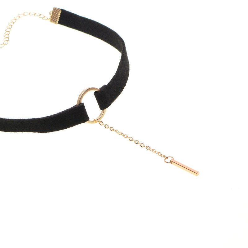 Suede Bar Choker Necklace Jewelery - Korean Fashion