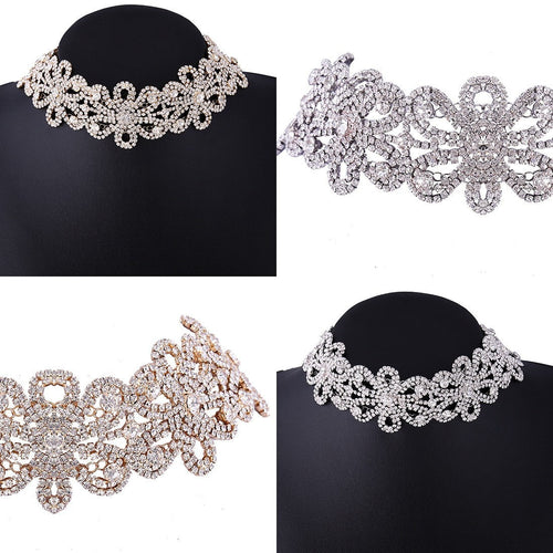 Korean Fashion - Shoes and Clothing - Crystal Flower Choker Necklace - Necklace -  - Gangnam Styles - 2