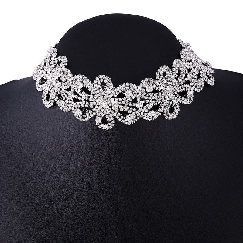 Crystal Flower Choker Necklace Jewelery - Korean Fashion