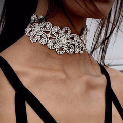 Korean Fashion - Shoes and Clothing - Crystal Flower Choker Necklace - Necklace - Silver - Gangnam Styles - 1