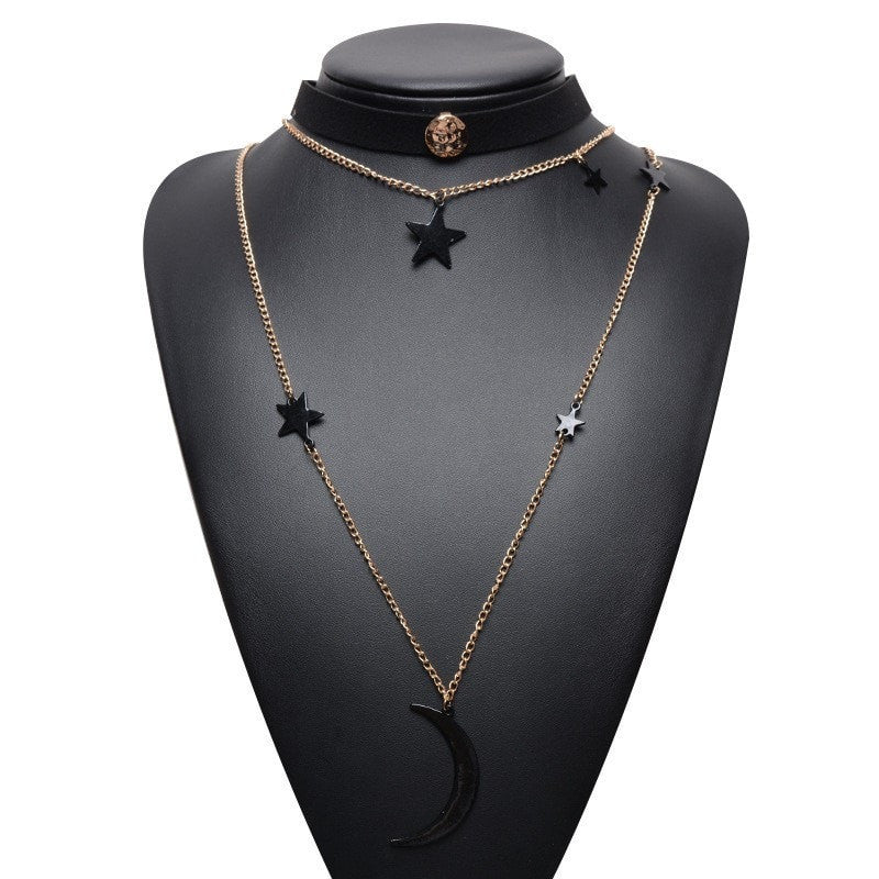 Layered Star & Moon Choker Necklace Jewelery - Korean Fashion