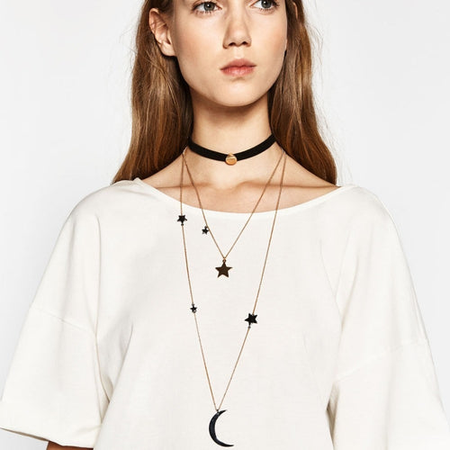 Korean Fashion - Shoes and Clothing - Layered Star & Moon Choker Necklace - Necklace -  - Gangnam Styles - 1