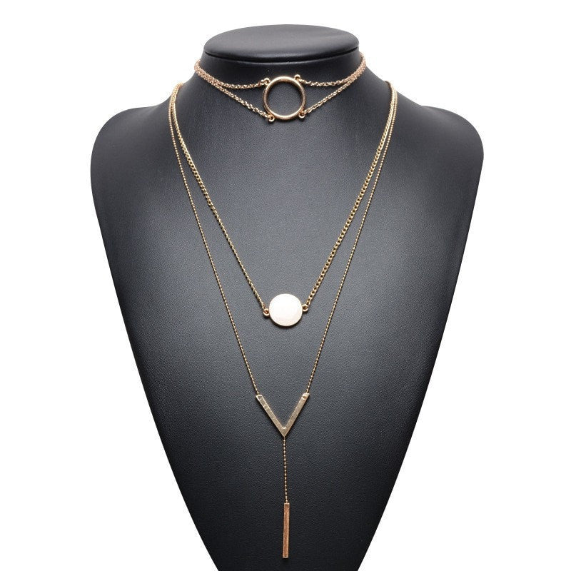 Layered Hanging Bar Ring Choker Necklace Jewelery - Korean Fashion