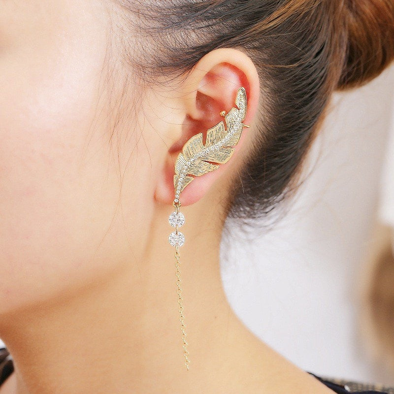 Leaf, Chain and Crystal Earrings Jewelery - Korean Fashion