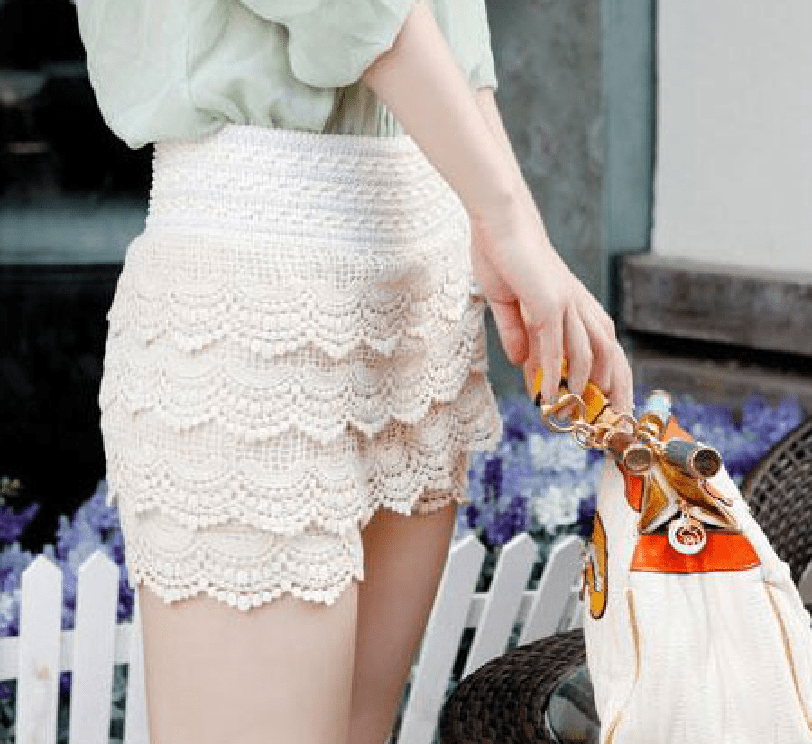 Korean Fashion - Shoes and Clothing - Mini Lace Shorts Skirt - Shorts - Free Size / White - Gangnam Styles - 5