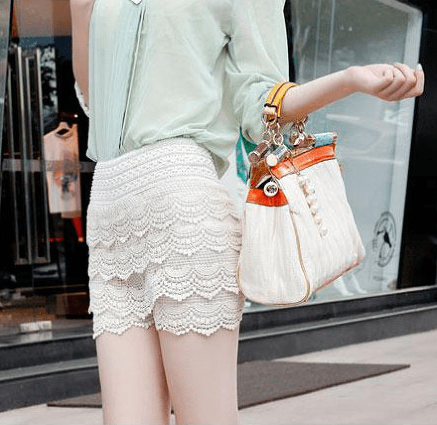 Korean Fashion - Shoes and Clothing - Mini Lace Shorts Skirt - Shorts -  - Gangnam Styles - 6
