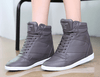 Lace-up Wedge Sneakers Women's Shoes - Korean Fashion