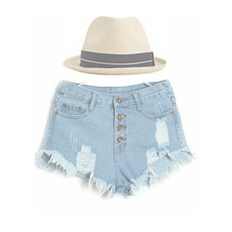 High Waist Ripped Denim Shorts Women's Clothing - Korean Fashion