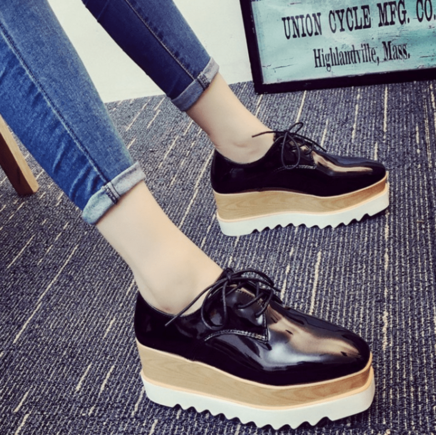 Autumn Lace-up Platform Shoes Women's Shoes - Korean Fashion