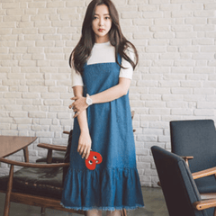 Korean Fashion - Shoes and Clothing - Set Jumper Long Skirt and Shirt - Dress - Free Size / Blue - Gangnam Styles - 1