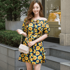 Korean Fashion - Shoes and Clothing - Sunflower Printed Off Shoulder Dress - Dress - Free Size / Navy - Gangnam Styles - 1