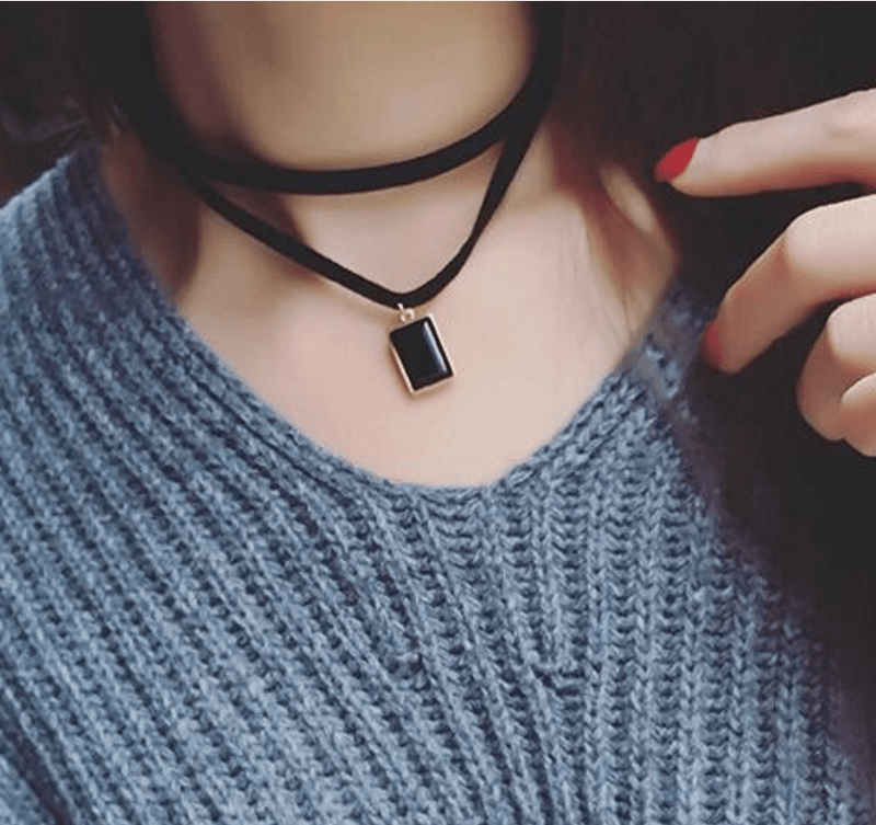Suede Drop Choker Jewelery - Korean Fashion