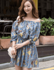 Korean Fashion - Shoes and Clothing - Floral Off Shoulder Dress - Dress -  - Gangnam Styles - 6