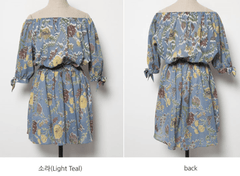 Korean Fashion - Shoes and Clothing - Floral Off Shoulder Dress - Dress -  - Gangnam Styles - 11