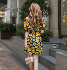 Korean Fashion - Shoes and Clothing - Sunflower Printed Off Shoulder Dress - Dress -  - Gangnam Styles - 3