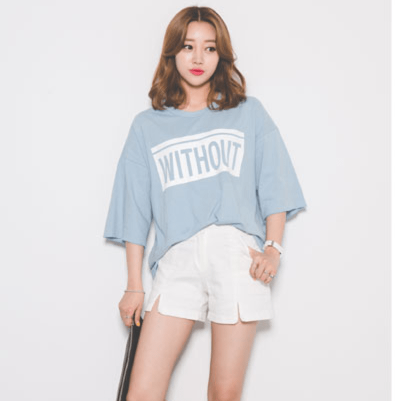 'Without' Short Sleeve T-Shirt Women's Clothing - Korean Fashion