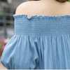 Denim Off Shoulder Dress Dress - Korean Fashion