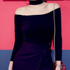 Korean Fashion - Shoes and Clothing - Choker Off Shoulder Top - Top Dress -  - Gangnam Styles - 6