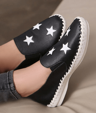Star Slip-On Loafers Women's Shoes - Korean Fashion