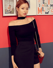 Korean Fashion - Shoes and Clothing - Choker Off Shoulder Top - Top Dress -  - Gangnam Styles - 2
