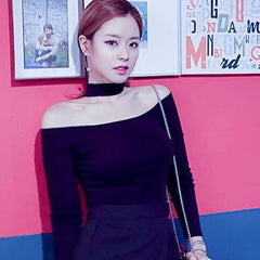 Korean Fashion - Shoes and Clothing - Choker Off Shoulder Top - Top Dress - Free Size / Navy Blue - Gangnam Styles - 5