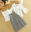 Sets Flare Sleeve V-neck Chiffon Striped Midi Skirt Set Dress - Korean Fashion