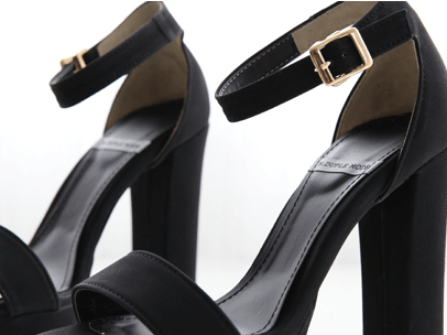 Ankle Strap Open Toe Heels Women's Shoes - Korean Fashion