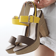 Chunky Strap Heels Heels - Korean Fashion