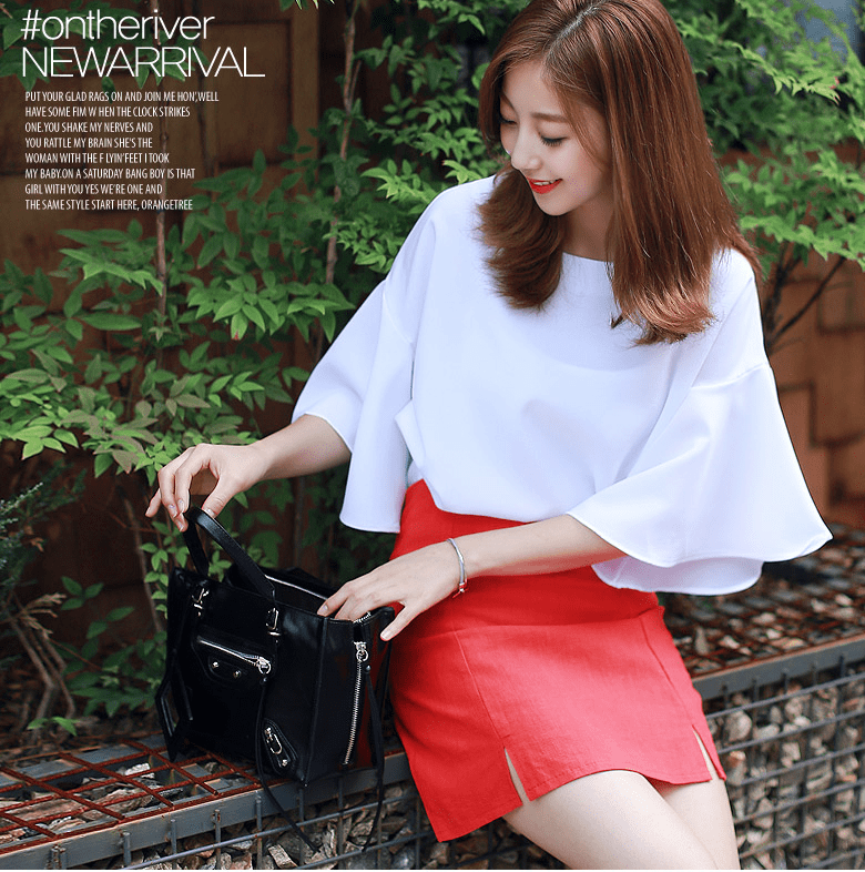 Butterfly Sleeve Top Women's Clothing - Korean Fashion