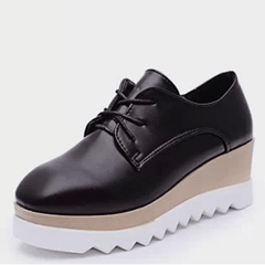 Korean Fashion - Shoes and Clothing - Autumn Lace-up Platform Shoes - Sneakers - Black / 36 - Gangnam Styles - 2
