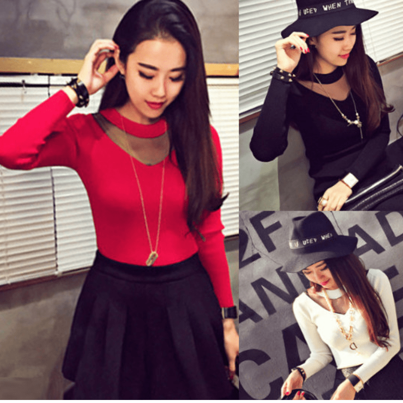 Autumn Long Sleeve Top Women's Clothing - Korean Fashion