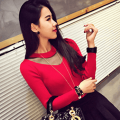Korean Fashion - Shoes and Clothing - Autumn Long Sleeve Top - Tops - Red / Free Size - Gangnam Styles - 3