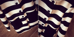 Korean Fashion - Shoes and Clothing - Korean Stripe Spring Coat - Tops -  - Gangnam Styles - 6