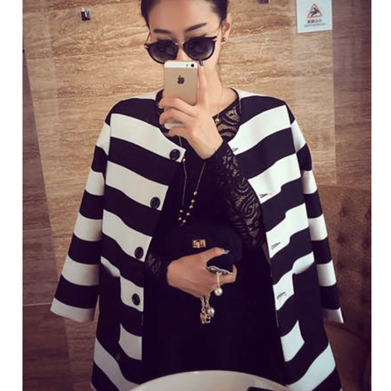 Korean Stripe Spring Coat Coat - Korean Fashion