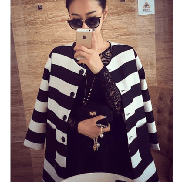 Korean Stripe Spring Coat
