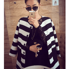 Korean Fashion - Shoes and Clothing - Korean Stripe Spring Coat - Tops -  - Gangnam Styles - 1