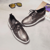 Vintage Oxford Gunmetal Flat Women's Shoes - Korean Fashion