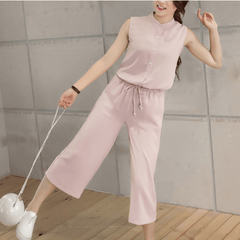 Korean Fashion - Shoes and Clothing - Korean Set Sleeveless and Pants - Set Dress - Free size / Dusty Pink - Gangnam Styles - 1
