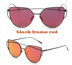 Korean Fashion - Shoes and Clothing - Soho Cat Eye Mirror Sunglasses - Sunglasses - Black Flame Red - Gangnam Styles - 12
