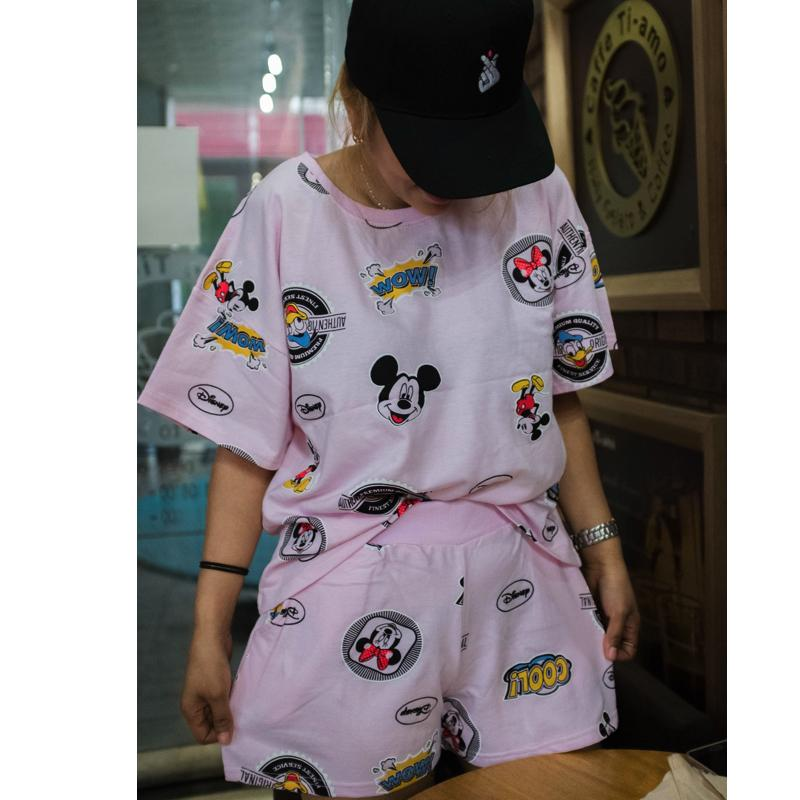 Combo Mickey Shirt & Shorts Set Dress - Korean Fashion
