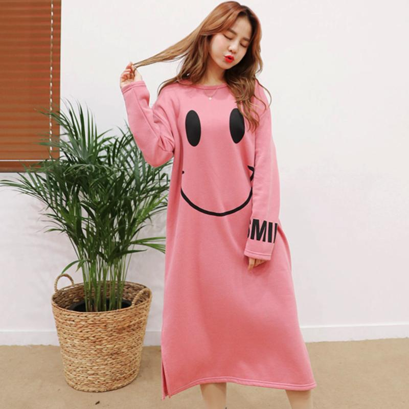 Smiley Emoji Winter Dress Dress - Korean Fashion