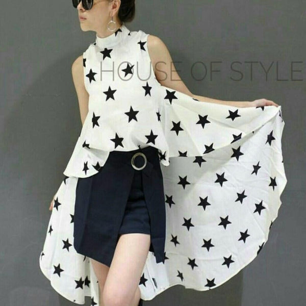 Star Sleeveless Long Back Top
