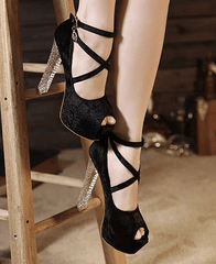 Ankle Strap Open Toe Stiletto Heels Stiletto - Korean Fashion
