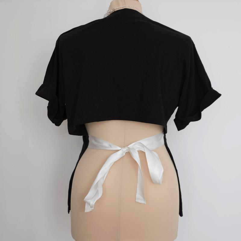 String Style Back T-Shirt Top - Korean Fashion