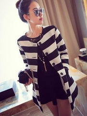 Korean Fashion - Shoes and Clothing - Korean Stripe Spring Coat - Tops -  - Gangnam Styles - 2