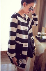 Korean Fashion - Shoes and Clothing - Korean Stripe Spring Coat - Tops -  - Gangnam Styles - 4