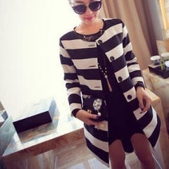 Korean Fashion - Shoes and Clothing - Korean Stripe Spring Coat - Tops -  - Gangnam Styles - 3