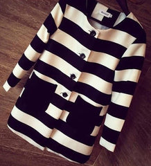 Korean Fashion - Shoes and Clothing - Korean Stripe Spring Coat - Tops - Black / Free Size - Gangnam Styles - 5