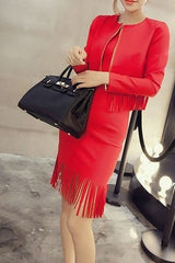 Tassel Formal Dress with Cardigan Set Dress - Korean Fashion